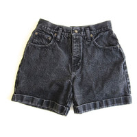 Vintage BLACK Denim 90s Jean Shorts EXPRESS Brand High Waist Cuffed Jean Shorts Vintage Womens Washed Out Mom Jean Shorts Small XS