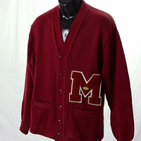 Vintage 50s 60s Milwaukee Knit Football Crimson Letterman Sweater Jacket College School Cardigan 1950s 1960s Collegiate size L-XL