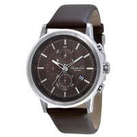 Chronograph Watch with Brown Leather Strap