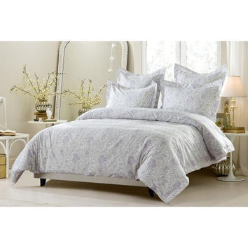 6pc Lavender Grey Floral Bedding Set-Includes Comforter and Duvet Cover - Style # 1027 C - Cherry Hill Collection in Full/Queen