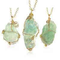 Abstract Emerald GemChlorophane Stone Necklace
