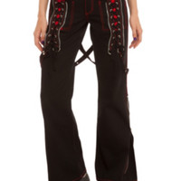 Tripp Black And Red Lace-Up Zipper Pants