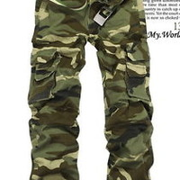 Jeansian Mens Casual Military Army Cargo Camo Stylish Pants Toursers W28-38 J202