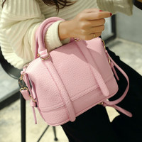 Chic Pink Ladies Leather Crossbody Shoulder Handbag Boston Bag