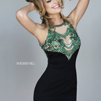 Sherri Hill 32002 - Black Beaded Jersey Short Homecoming Dresses Online