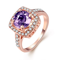 Amethyst Claw Set 18k Rose Gold Plated Ring