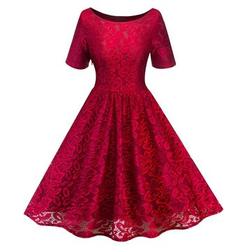 Women Vintage O Neck Short Sleeve Slim Swing A Line Dress Cocktail Party Floral Lace Formal Dresses
