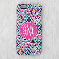 Coral Floral Monogram iPhone 6s Case iPhone 6 plus Case Custom Initial iPhone 5S Case iPhone 5C Case iPhone 4S Case Galaxy S6 S5 Case 058
