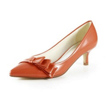 Asymmetrical Bow Detailed Pointed Mid Heeled Work Shoes