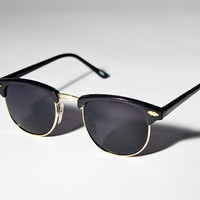 Black And Gold Clubmaster Sunglasses A1