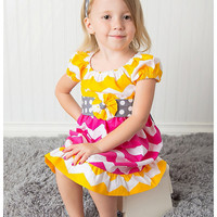 Bright and Fun Yellow, gray, and Pink Chevron Dress