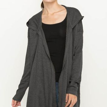 Charcoal Knit Hoodie Cardigan