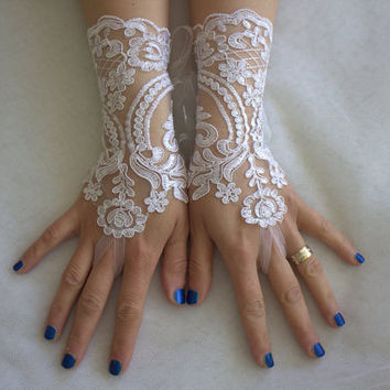 french lace, WHİTE,long, wedding gloves, bridal acceessories gloves,bridal gloves, free shipping!