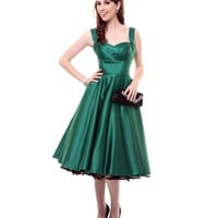 Unique Vintage Emerald Green Satin Happily Ever After Pleated Swing Dress