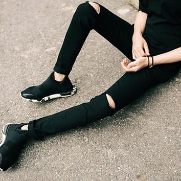 Mens Casual Skinny Jeans Pants Men Solid Black White Pencil Jeans Ripped Beggar Jeans With Knee Hole For Youth Men