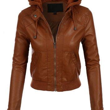 LE3NO Womens Faux Leather Bomber Jacket with Fleece Hood (CLEARANCE)
