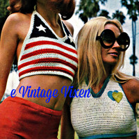 Crochet Halter Top Pattern Vintage 70s Crochet American Flag Top Pattern Knitted Shorts Pattern -3 Patterns