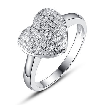 Sterling Silver Heart W. Micro Pave Cubic Zirconia Ring
