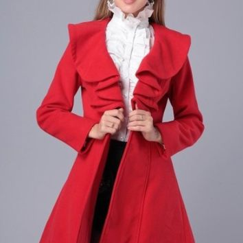 Plain Ruffled Long-Sleeve Dress Coat