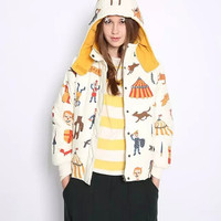 White Printed Button Hoodie Winter Jacket