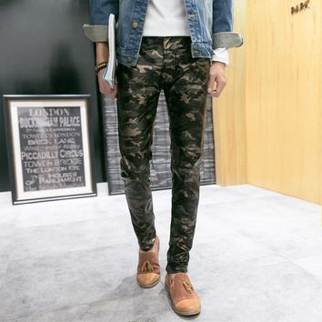 Spring Autumn Men`s Urban Clothing Joggers Faux Leather Pants Camo Camouflage Skinny Joggers Trousers For Youth