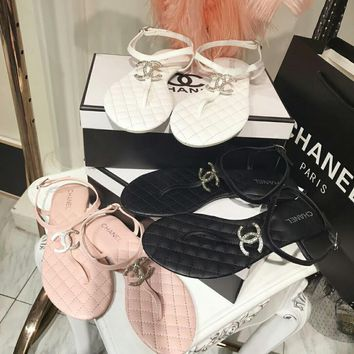 """Chanel"" Women All-match Fashion Diamond Letter Genuine Leather Pinch Sandals Casual Flats Shoes"