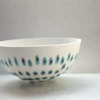 English fine bone china bowl with blue dots
