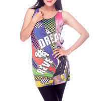 Dream Reve Classic Pop Art Movie Colorful Shirt Women Tank Top Black and White Shirts Tunic Top Vest Sleeveless Women T-Shirt Size S M