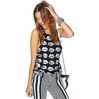Black Lip Silver Print Sleeveless Top