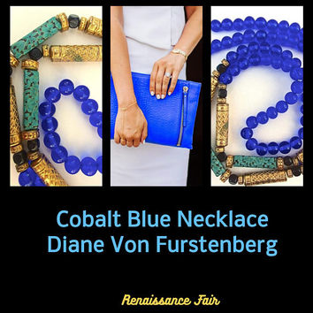 DIANE VON FURSTENBERG Cobalt Blue Glass Bead Necklace, Faux Turquoise, Gold Bar Links, Vintage