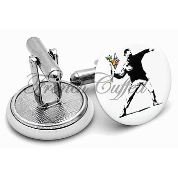 Banksy Love & Hate Cufflinks
