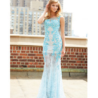 Madison James 15-127 Blue Beaded Floral Lace Gown 2015 Prom Dresses