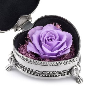 hey June Preservedfreshflower, Preserved Flower Rose, Antique Jewelry Box, Unique Gift Idea for Women, Her, Sister, Girls, Aunt, Mother's Day, Birthday, Anniversary, Wedding(Purple Heart-shaped)