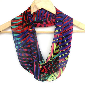 neon collage infinity scarf .infiniti loop scarf. tube scarf. cowl scarf . neon yellow purple black aqua red pink leaves
