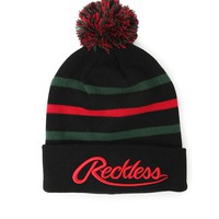 Young & Reckless Big R Script Beanie - Mens Hats - Rasta - One