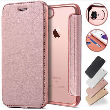 Luxury Rose Gold Plated Flip-Back Clear 360 Full Body Mobile Phone Case