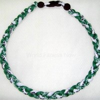 Baseball Titanium Necklace Green/White 20 Inches