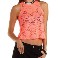 Striped Crew Neck Lace Tank Top by Charlotte Russe