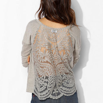 Pins And Needles Metallic Lace Back Pullover Sweatshirt  - Urban Outfitters