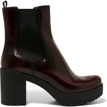 Prada - Glossed-leather platform Chelsea boots