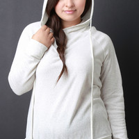 Marled Knit Back Corset Lace Up Long Sleeves Hooded Top
