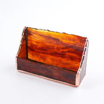 Dark Amber Business Card Holder - Stained Glass - Rustic Design - Desktop Accessories - Office Desk Decor - Unique Gift for Men - Handmade