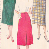 "1950s Simple To Make Skirt with Back Kick Pleat Vintage Sewing Pattern, Mad Men, Office Fashion, Simplicity 4377 Waist 28""  hips 37"""