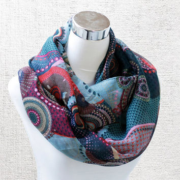 Boho Aqua Blue Long Scarf with Large Red & Grey Circles Rings and Black Dots Tribal Pattern Scarf scarves shawl schal floral flower gift