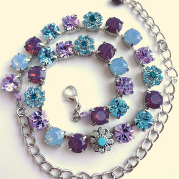 swarovski crystal choker, better than sabika, lavender, blue, crystal necklace