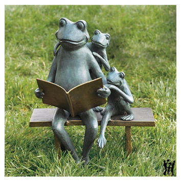 Reading Frog Family Bench Metal Garden Sculpture Statue Parent Kids