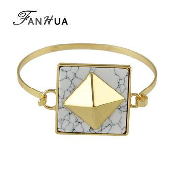 FANHUA Indian Jewelry Bohemian Style White Black Marble Bracelet Geometric Gold-Color Open Bangles