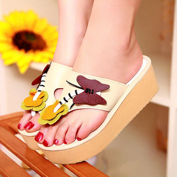 Women Slippers Flip Flop Butterfly Wedges Shoes Woman 1545