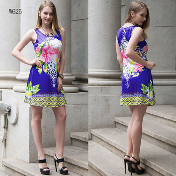 2017 spring and summer printed vest skirt seaside holiday dress [10159912647]