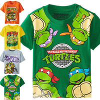 Free shipping new TMNT Teenage Mutant Ninja Turtles Baby Kids Boys Tops T-shirt summer short sleeve child's clothes 2~7Y